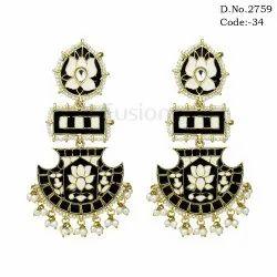 Fusion Meenakari Chandelier Earrings