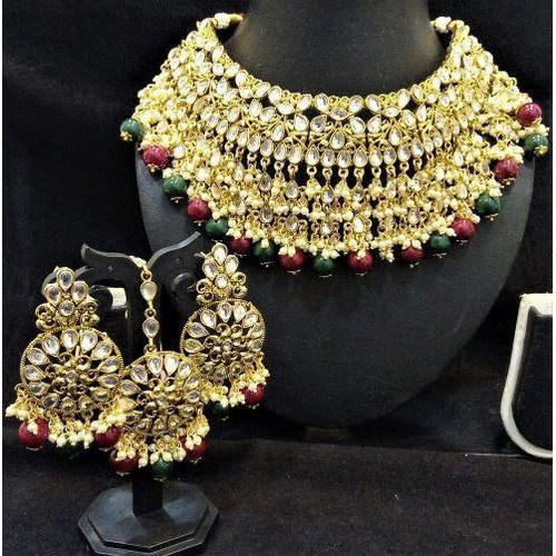 8d38b9248eefd Designer Red Green Pearl Kundan Necklace Jewelry Set