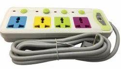 Bigapple 4 socket Multicolor Extension Board, 10A, 3 Meter Wire / Cable