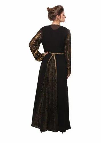 ab72eddd3ed Georgette Full Sleeves Black Gold Front Open Long Abaya