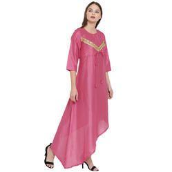 Crepe Silk High Low Designer Kurti With Zari Lace
