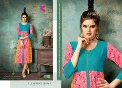 Panash Vol -3 Plain Rayon Heavy Dobby With Printed Designer Kurtis