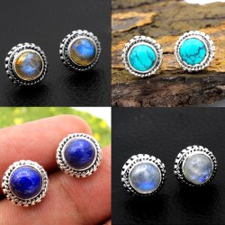 Tiny Studs  Natural Gemstone 925 Sterling Silver Jewelry Wholesale Online Exporter Earring