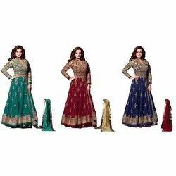 Net and Banglori Silk Bridal Wedding Wear Anarkali Suit