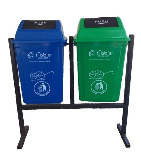 Fiable Green,Blue 60 Liter Dustbin With Stand, Capacity: 60 Liters