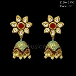 Designer Kundan Meenakari Jhumka Earrings