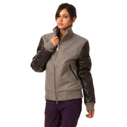 Wool Leather Women Varsity Jacket