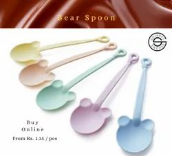 Disposable Plastic PP Spoon Bear Shaped, Packaging Type: Box, Size: 14 Cm X 4 Cm