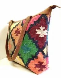 Handmade Leather Kilim Tote Bag