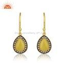 Zircon Yellow Chalcedony Gemstone Silver Gold Plated Earrings Jewelry