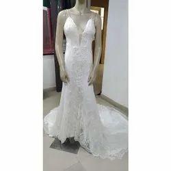 White Georgette Ladies Christian Wedding Long Gown, V-shape