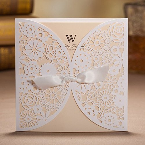 Lovely White Floral Laser Cut Wedding Invitation Card