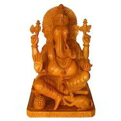 Wooden Natural Ganesha Chowki Statue