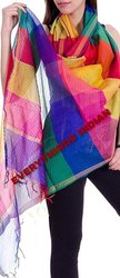 Indian Multi Color Chanderi Silk Dupatta
