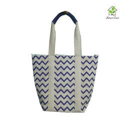 Canvas Bag With Zig Zag Print