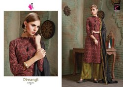 Straight Semi-Stitched Khushika Cotton Printed Salwar Kameez, Dry clean