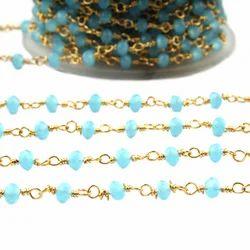 Blue Aqua Chalcedony Rosary Chains