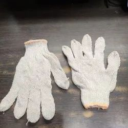 White Knitted Normal Hand Gloves, For Industrial, Size: Medium
