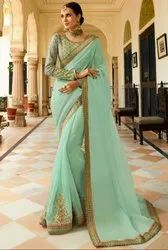 Mint Green Designer Silk Saree with Double Blouse
