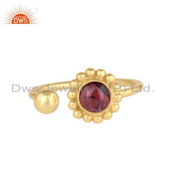 Adjustable 18k Gold Plated 925 Silver Garnet Gemstone Rings Jewelry