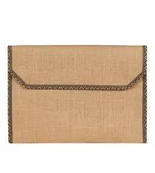 Jute File Folder With Lace Border, For Office