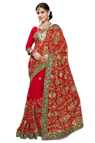 d6dfce65a4 Resham Embroidery Mirchi Fashion Stylish Red Faux Georgette Party Wear Saree