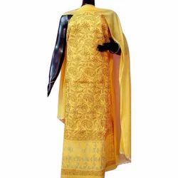 Yellow Ladies Unstitched Chikankari Suit Material
