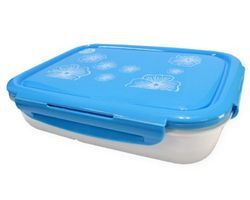 Blue & White Rectangular Plastic Lunch Box
