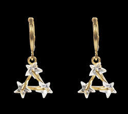 Star Triangle Brass Drop Earring