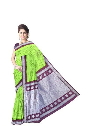 Green And Purple Color Dupion Silk Bandhani Saree