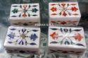 White Inlaid Design Marble Box, For Home, Shape: Rectangular