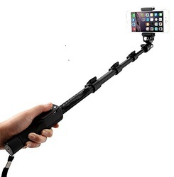 Selfie Stick With Bluetooth Remote, Extendable Up to 113.5 CM, Black, Mobile