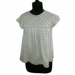 White Casual Ladies Round Neck Cotton Top