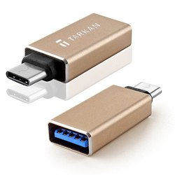 TARKAN Universal USB 3.1 Type C Male to USB 3.0 Type A Female Adapter (Gold)