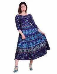 Festive Wear 3/4th Sleeves Cotton Long Dress, Size: Free Size