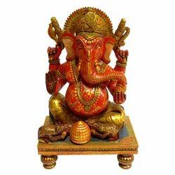Hand Made Wooden Chowki Ganesha Statue