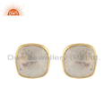 Cushion Design Gold Plated Silver Rainbow Moonstone Stud Earrings