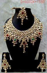metal Party Wear Kundan Heavy Bride Necklace Set