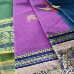 5.5 m (separate blouse piece) Casual Handloom tant saree, Without Blouse Piece