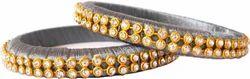 Grey And Golden Silk Thread Bangle Set