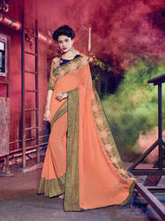 Peach Color Saree