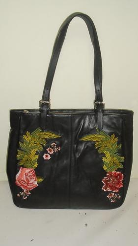 Black caliber india Leather Embroidery Bag