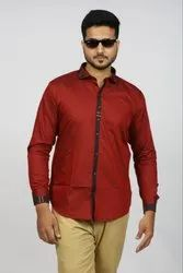 Mens Maroon Casual Wear Solid Cotton Shirt