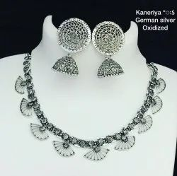 Designer Silver Siliver Oxidized Jewellery, Set With Erring