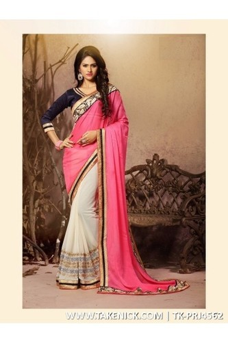 bcf3a24a8ef47 Georgette Embroidered Designer Half Half Saree With Pink Chiffon Fabric  With Embro