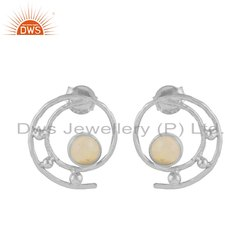 DWS White Spiral Design Sterling Silver Ethiopian Opal Gemstone Stud Earring