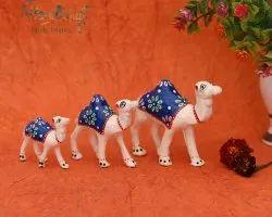 Paper Mache White Metal Craft Set Of 3 Showpiece Camel