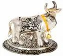 Brass Golden and Silver Cow with Calf Statue