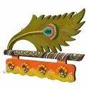 Wooden Kundan Peacock Feather 5 Hook Key Hanger