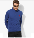 Blue Solid Regular Fit Polo Tshirt